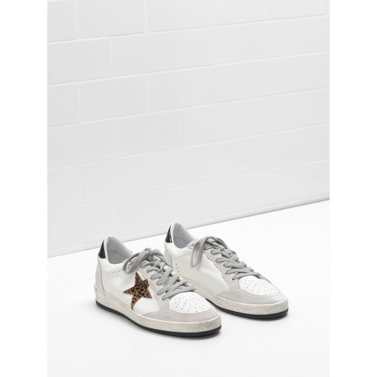 Men's/Women's Golden Goose ball star sneakers in calf leather star heel glossy
