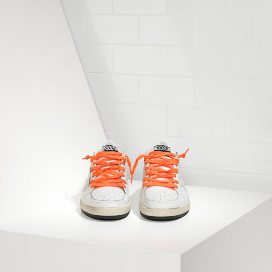 Men's/Women's Golden Goose sneakers ball star leather in orange lace