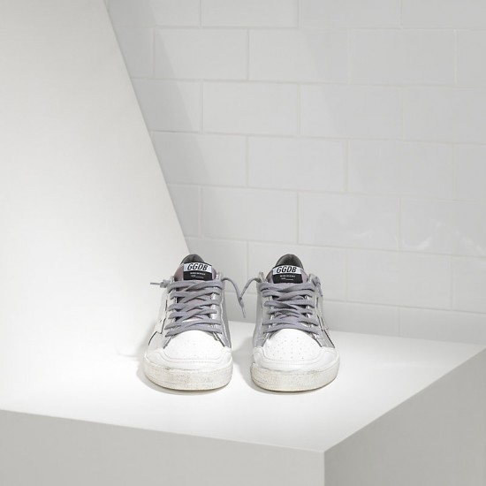 Women's Golden Goose sneakers ball star leather in silver mirror