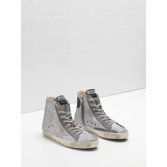 Men's/Women's Golden Goose francy sneakers in glitter coated calf leather