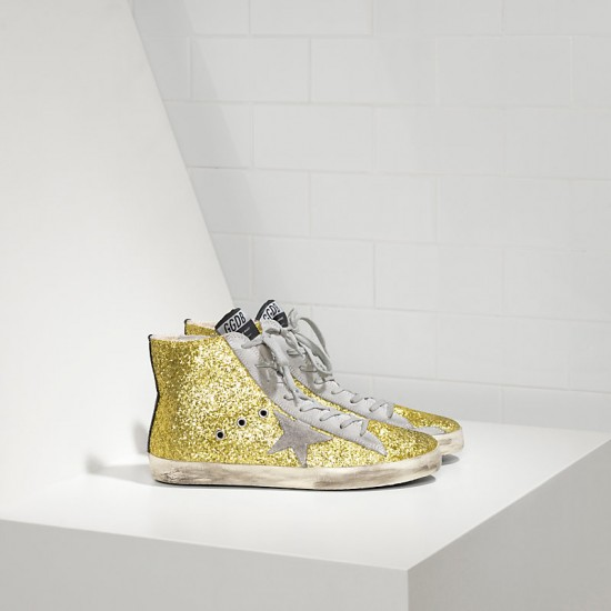 Men's/Women's Golden Goose sneakers francy all over glitter in camoscio lime glitter
