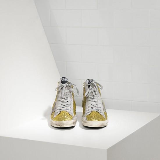 Men's/Women's Golden Goose sneakers francy all over glitter in camoscio lime glitter