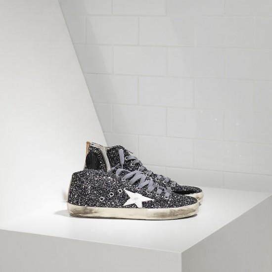 Men's/Women's Golden Goose sneakers francy all over glitter in pelle grey glitter