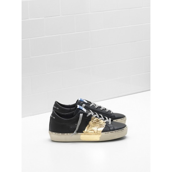 Men's/Women's Golden Goose hi star sneakers 24 carat gold leaf branding black