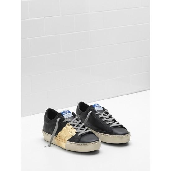Men's/Women's Golden Goose hi star sneakers 24 carat gold leaf branding black