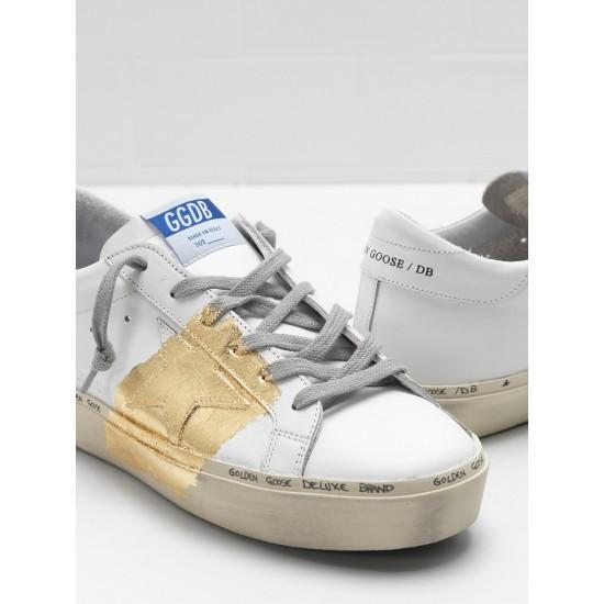 Men's/Women's Golden Goose hi star sneakers 24 carat gold leaf branding white