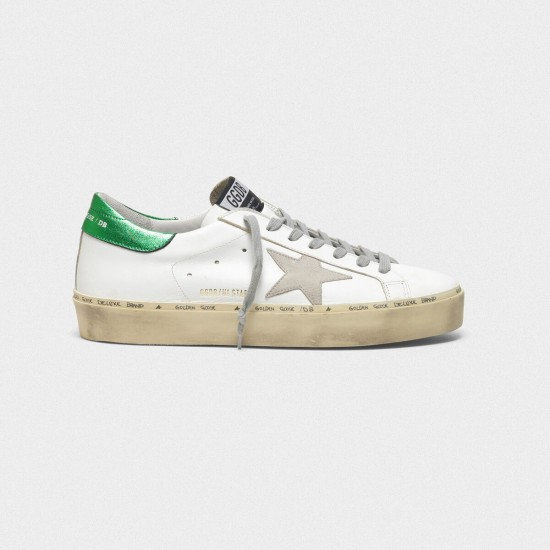 Men's/Women's Golden Goose hi star sneakers with laminated heel tab white green