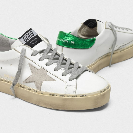 Men's/Women's Golden Goose hi star sneakers with laminated heel tab white green