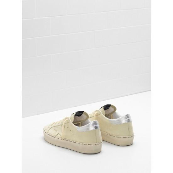 Women's Golden Goose hi star sneakers lemon nabuk leather real silver