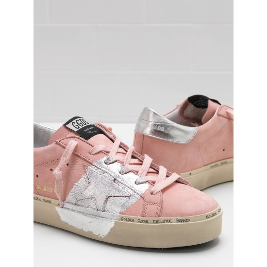 Women's Golden Goose hi star sneakers powder nabuk leather real silver