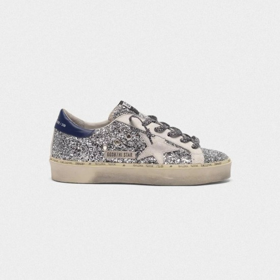 Women's Golden Goose hi star sneakers with glitter white star and leopard print laces
