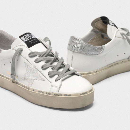Women's Golden Goose hi star sneakers with iridescent star and silver