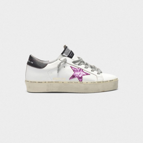 Women's Golden Goose hi star sneakers with pink glitter star and black