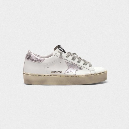 Women's Golden Goose hi star sneakers with star and heel tab in metallic silver