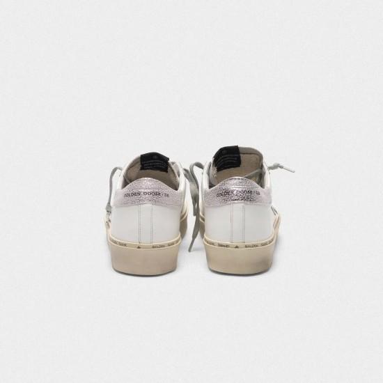 Women's Golden Goose hi star sneakers with star and heel tab in metallic silver