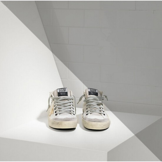 Men's/Women's Golden Goose mid star sneakers in leather star white military gold