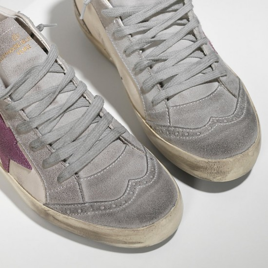 Men's/Women's Golden Goose sneakers mid star in camoscio white pink star