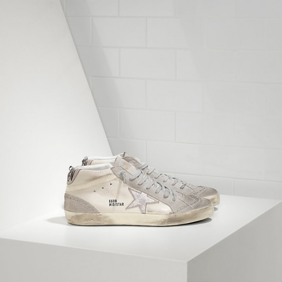 Men's/Women's Golden Goose sneakers mid star in camoscio white silver star