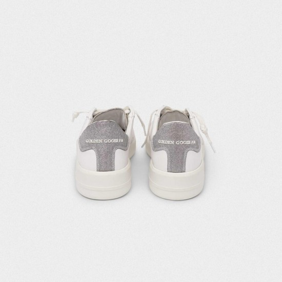 Men's/Women's Golden Goose purestar sneakers with glittery silver