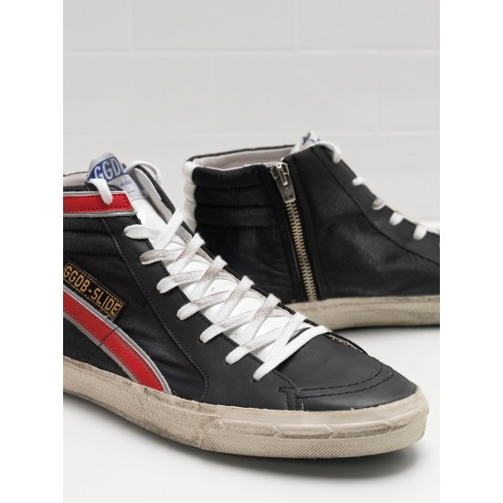 Men's/Women's Golden Goose slide sneakers in balck red