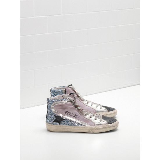 Men's/Women's Golden Goose slide sneakers in pink blue black