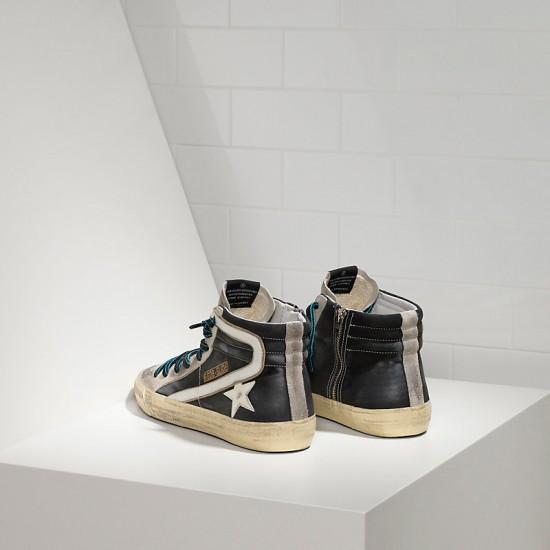 Men's/Women's Golden Goose sneakers slide in pelle black white