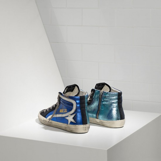 Men's/Women's Golden Goose sneakers slide in pelle blue shades