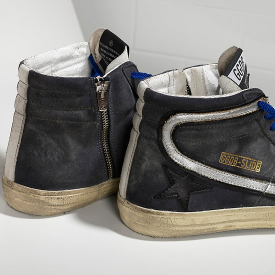 Men's/Women's Golden Goose sneakers slide in pelle dark grey suede silver