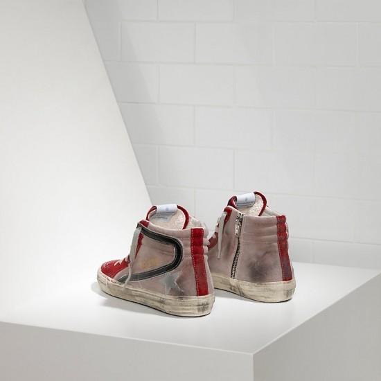 Men's/Women's Golden Goose sneakers slide in pelle red suede silver star