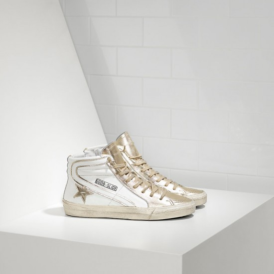 Men's/Women's Golden Goose sneakers slide in pelle white gold star