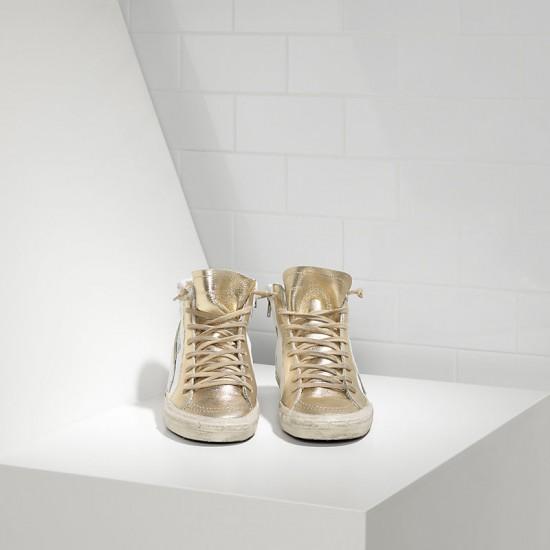 Men's/Women's Golden Goose sneakers slide in pelle white gold star