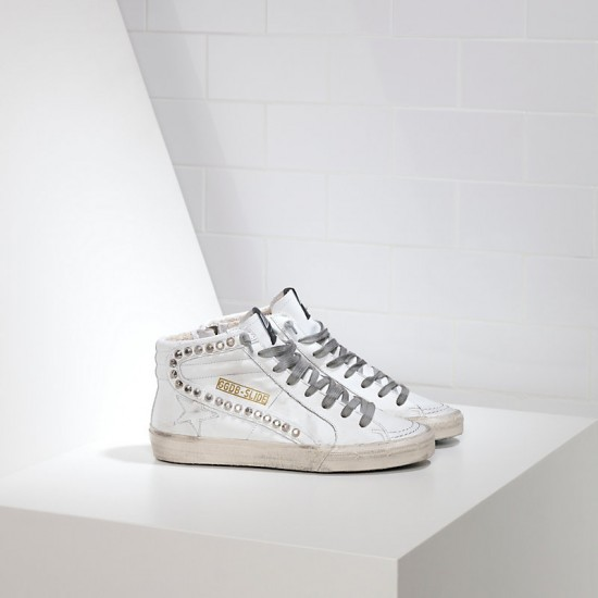 Men's/Women's Golden Goose sneakers slide in pelle white leather studs