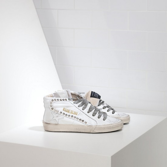 Men's/Women's Golden Goose sneakers slide in pelle white leather studs