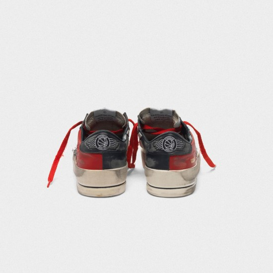 Men's/Women's Golden Goose distressed black and red stardan ltd sneakers