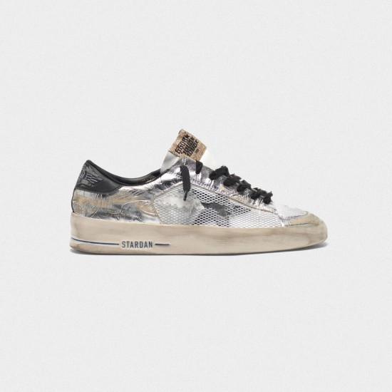 Men's/Women's Golden Goose stardan ltd sneakers laminated silver with floral design