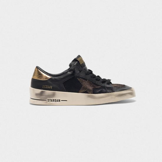 Men's/Women's Golden Goose stardan sneakers black gold leather with mesh inserts