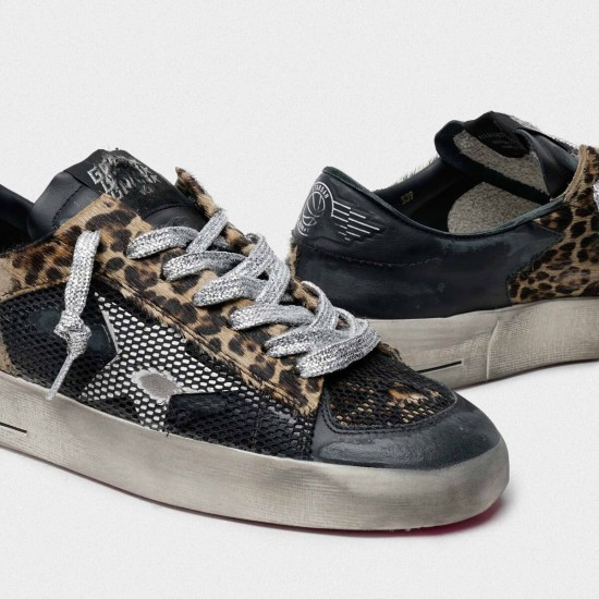 Women's Golden Goose leopard print stardan sneakers with fuchsia sole