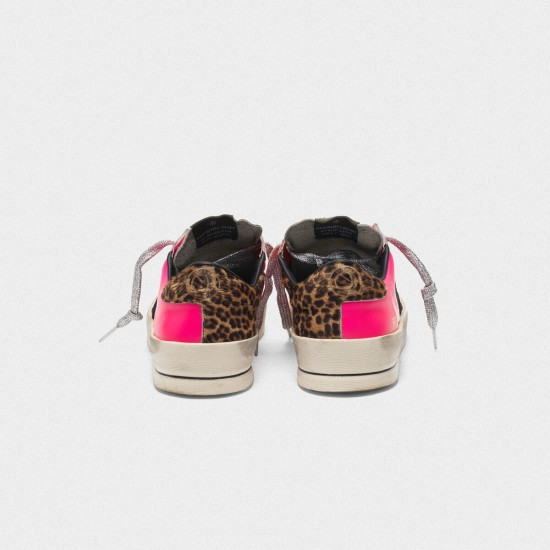 Women's Golden Goose stardan sneakers in fluorescent patchwork with leopard print