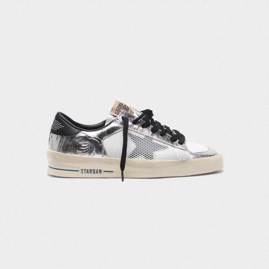 Women's Golden Goose stardan sneakers in laminated silver with floral design relief