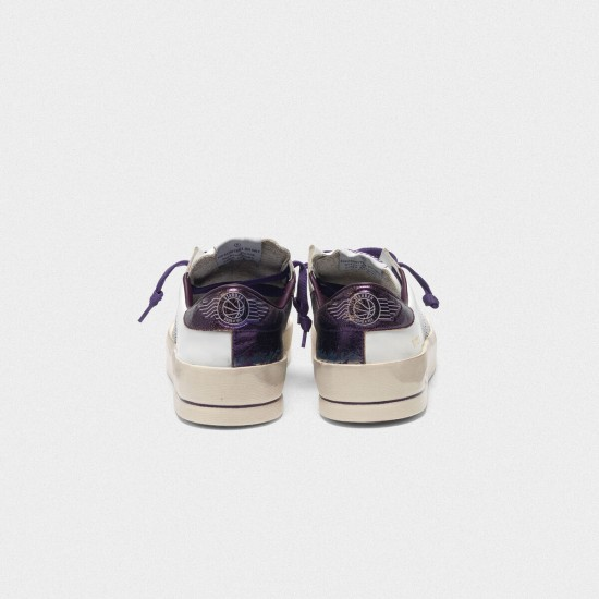 Women's Golden Goose stardan sneakers with star and heel tab in metallic purple