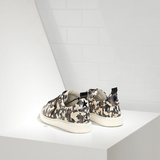 Men's Golden Goose starter sneakers in calf leather camouflage