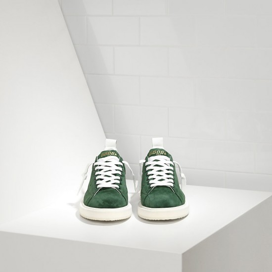Men's Golden Goose starter sneakers in calf suede green suede white