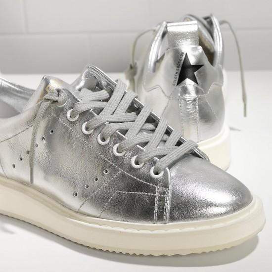 Men's/Women's Golden Goose sneakers starter in laminato silver white sole