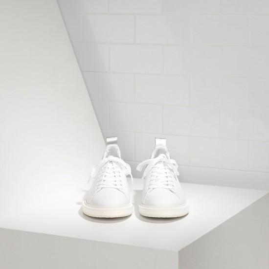 Men's/Women's Golden Goose sneakers starter in white silver