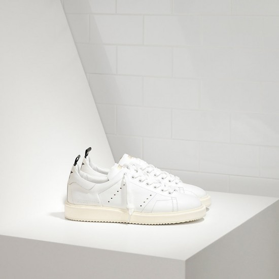 Men's/Women's Golden Goose starter sneakers in calf leather white white sole