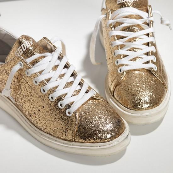 Men's/Women's Golden Goose starter sneakers leather coated gold glitter white