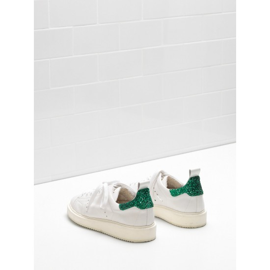 Women's Golden Goose starter sneakers upper in leather white green