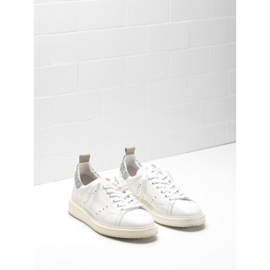 Women's Golden Goose starter sneakers upper in natural calf leather color