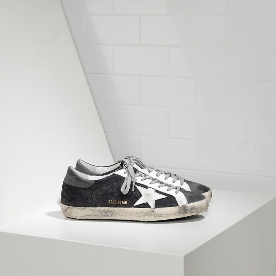 Men's Golden Goose sneakers superstar in black denim grey