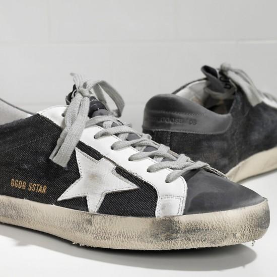 Men's Golden Goose sneakers superstar in black denim grey